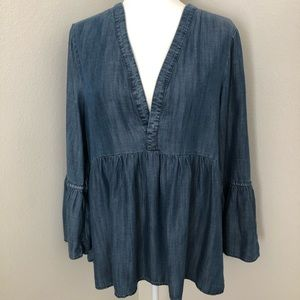 American Eagle Chambray Denim Peasant Top Size XL